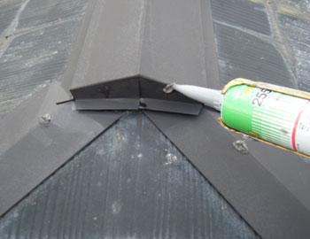 屋根板金釘頭コーキング