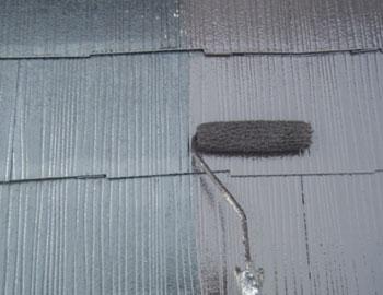 屋根・上塗り作業1回目